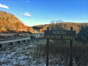 Trailhead sign just off US-322 south of Clarion, Pennsylvania.