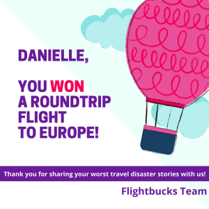 """How's this for a mood lifter?!? Flightbucks posted this graphic to its Facebook page to announce the winner of its """"worst travel delay"""" contest."""